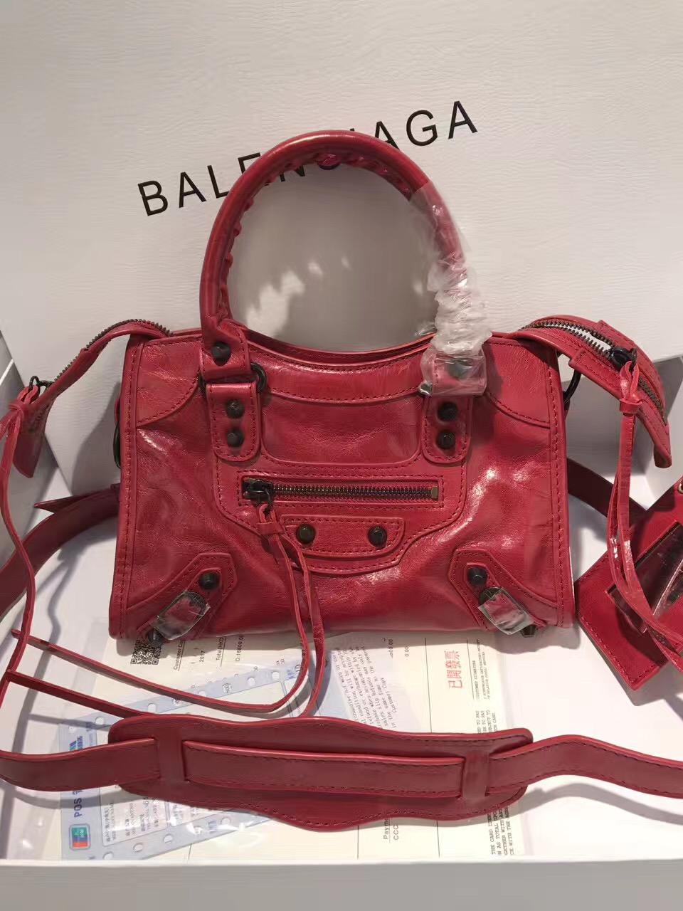balenciaga city red mini handbags
