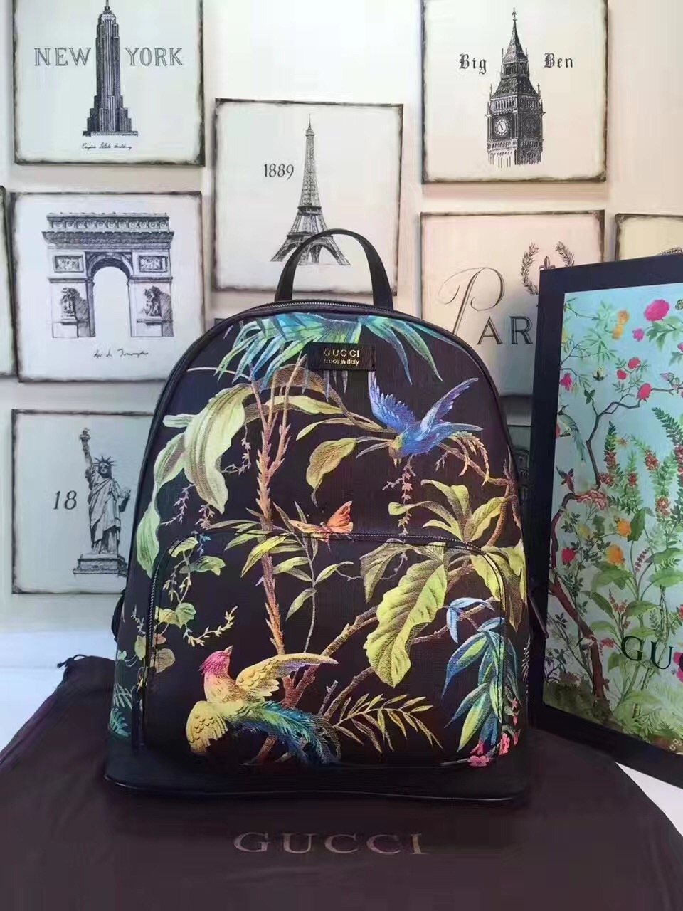 6cd6e35b3617 Gucci large backpack flower black with handbags  GG205  -  222.00 ...