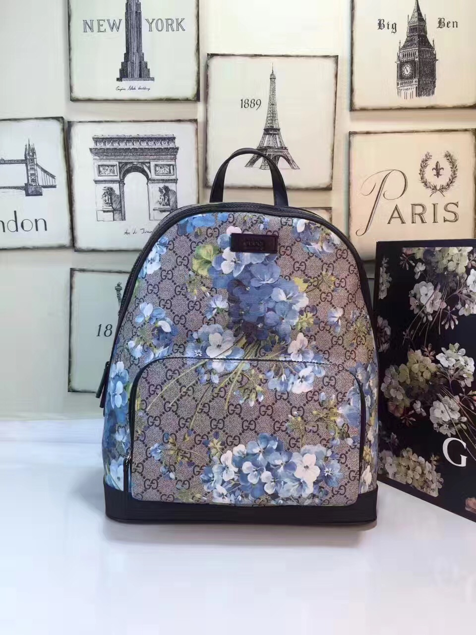 Gucci large backpack flower gray v handbags  GG206  -  222.00 ... cf490dfb87dcd