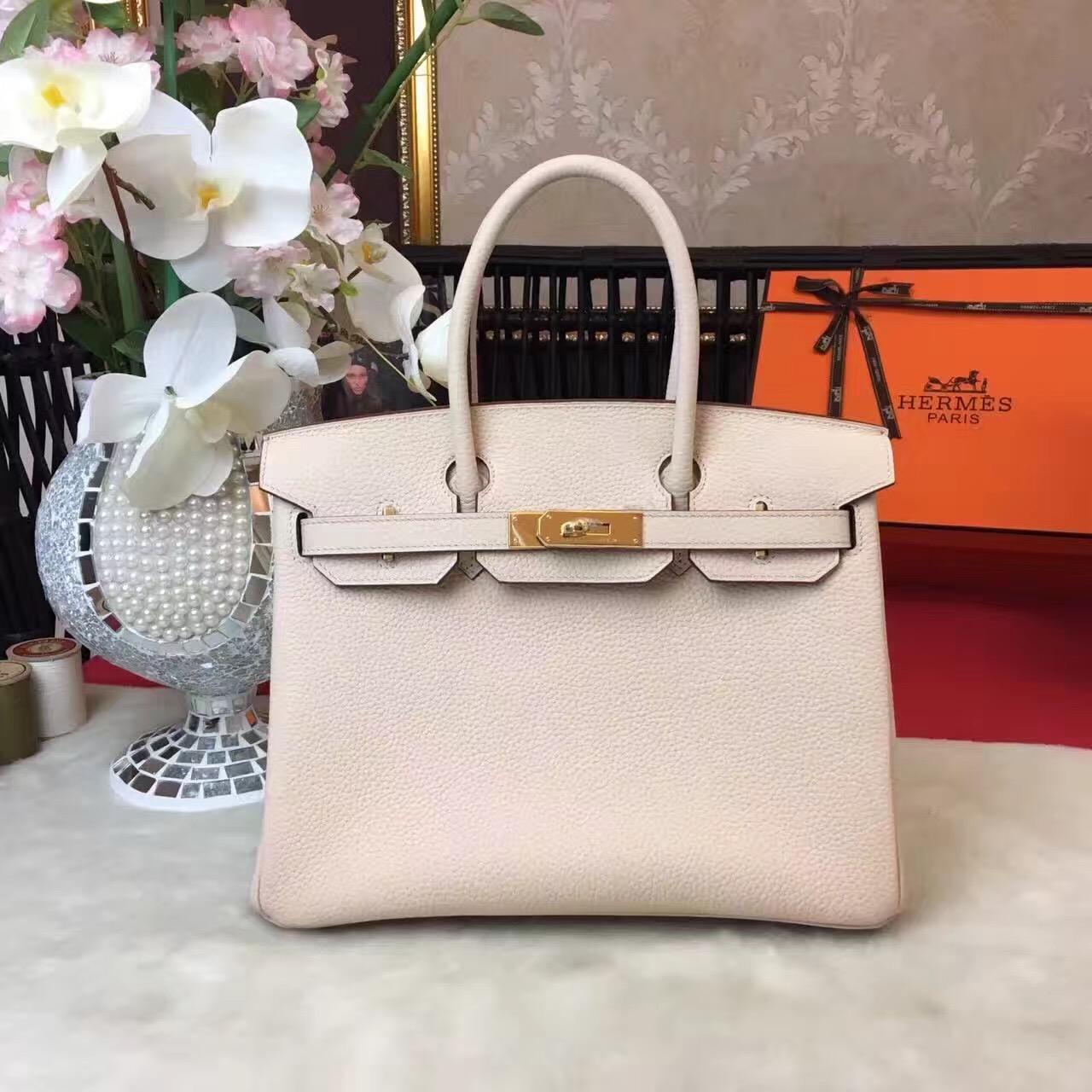 Hermes Top Leather Cream Birkin Handbags