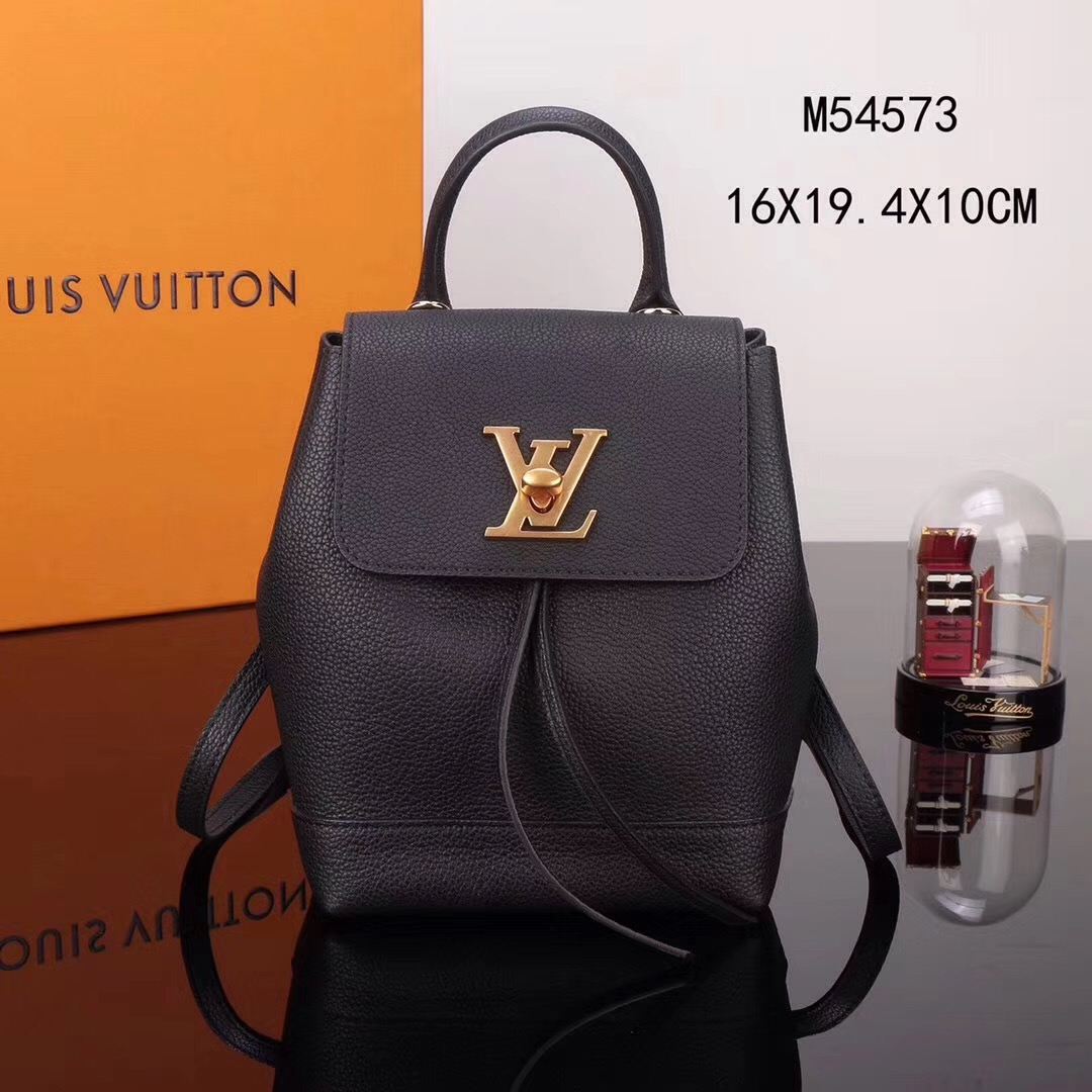 f9aca44951c5 LV Louis Vuitton M54573 Lockme Mini Leather Backpack Real bags Black ...