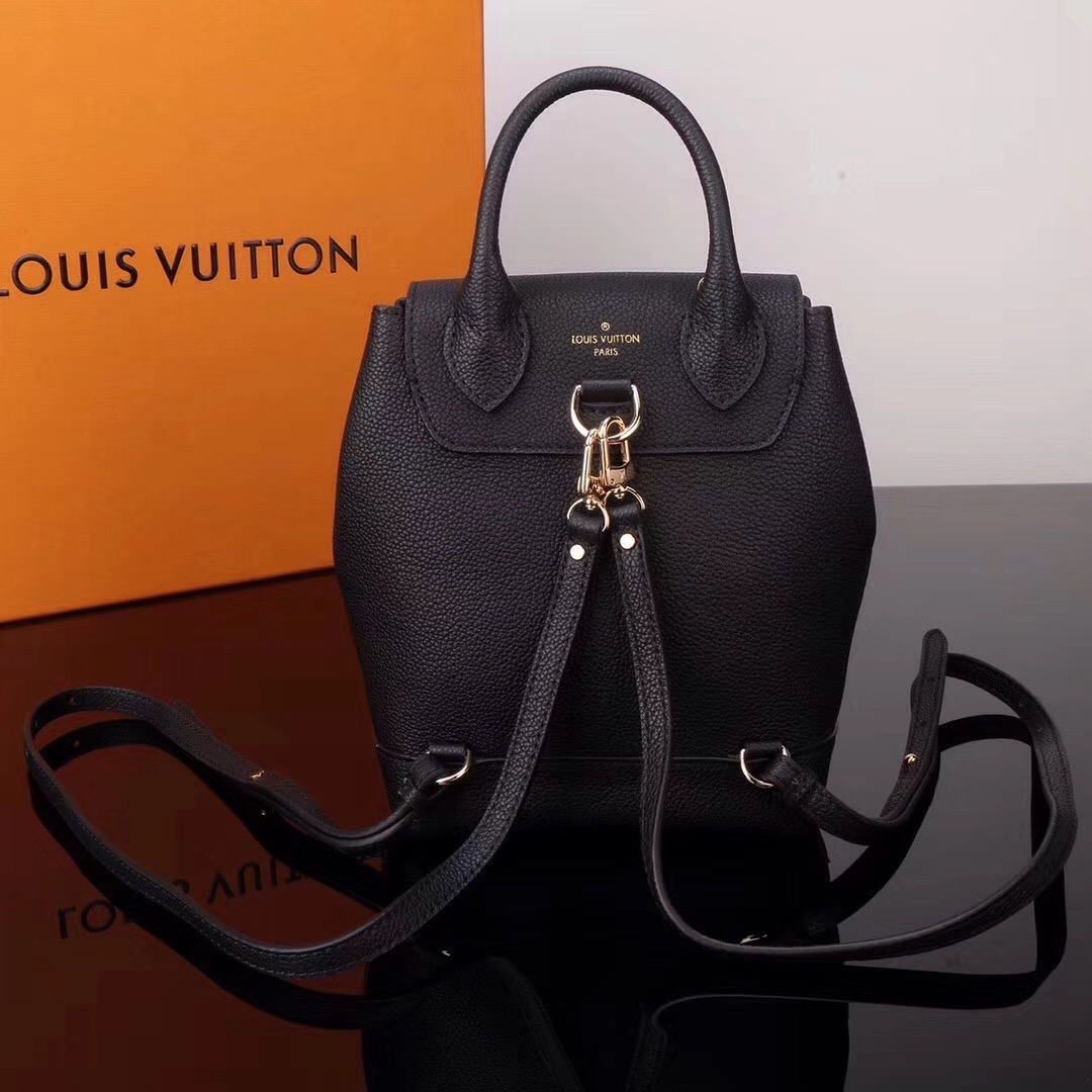 42feae93bb5c ... LV Louis Vuitton M54573 Lockme Mini Leather Backpack Real bags Black ...