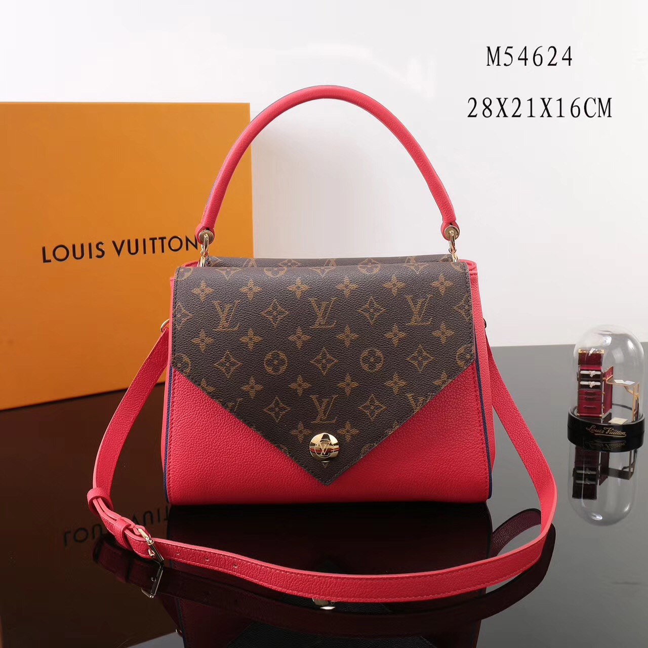 9f5bd9aac42b LV Louis Vuitton Monogram Double V Handbags Shoulder M54624 Leather bags  Red ...