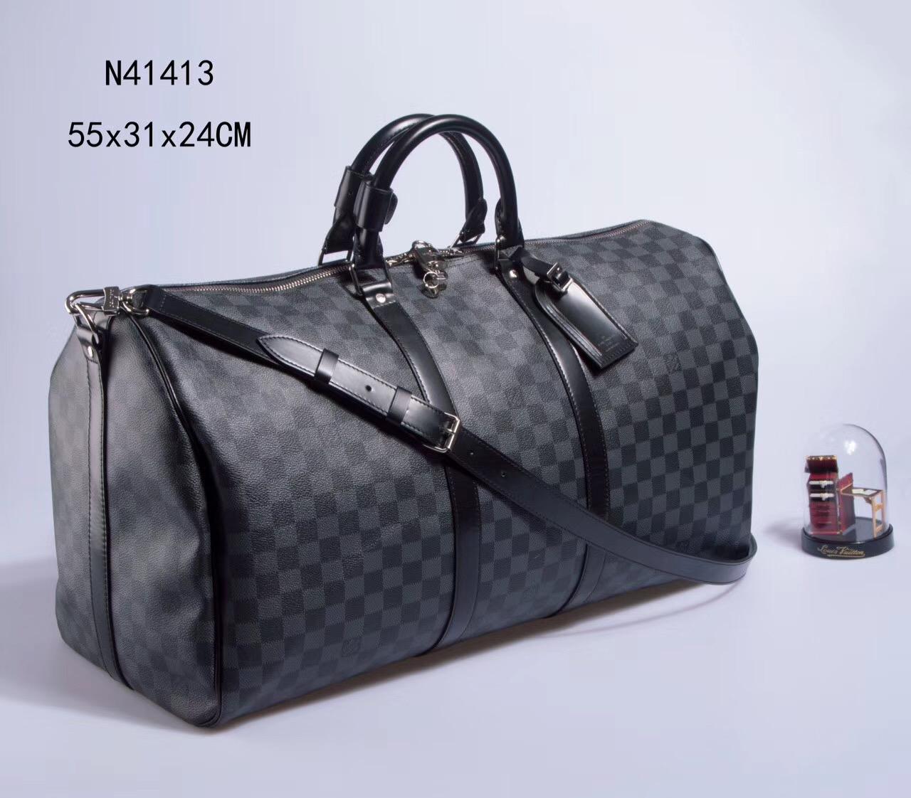 2e0d3b04f9872 Men LV Louis Vuitton N41413 Keepall 55 Travelling Handbags Damier bags Gray  ...