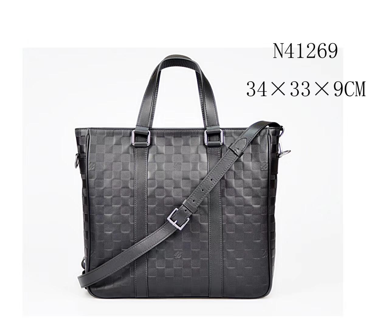 dad97c1b8844 Men LV Louis Vuitton Damier Tote Leather Handbags N41269 bags Black ...