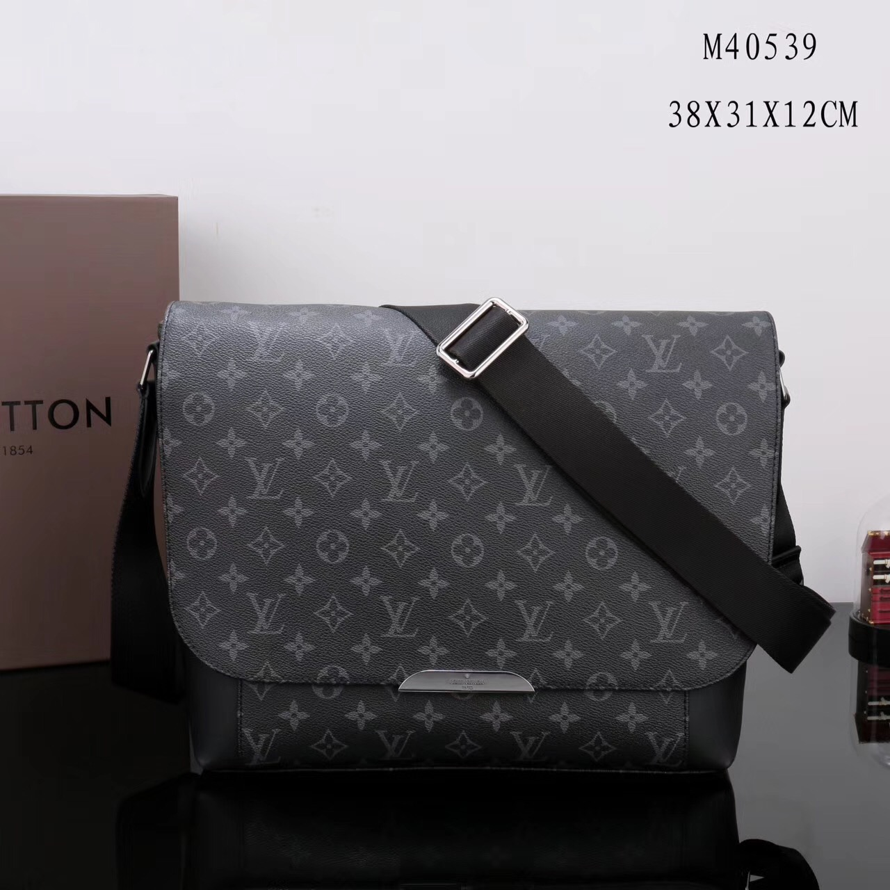 58a142c0738d Men LV Louis Vuitton M40539 Monogram Messenger bags Handbags Gray ...