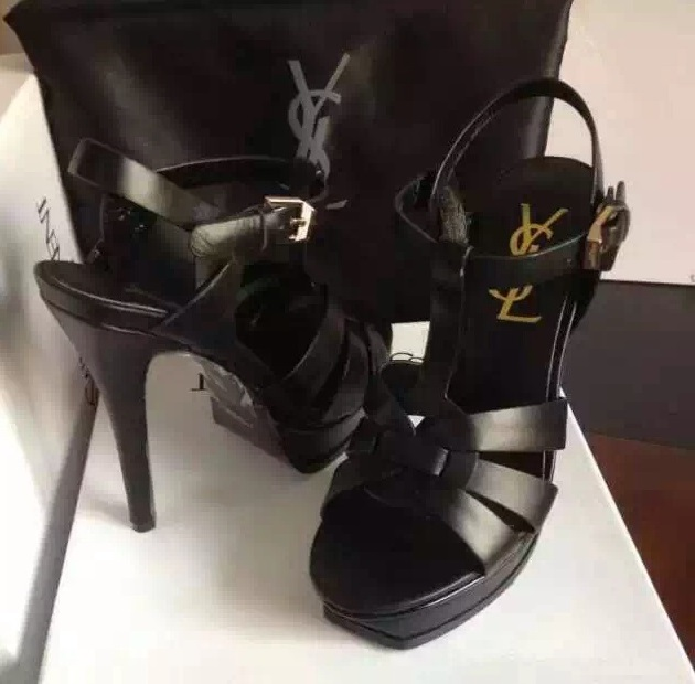 754f28503ed9 ysl tribute heels smooth sandals black calfskin shoes  shoes204 ...
