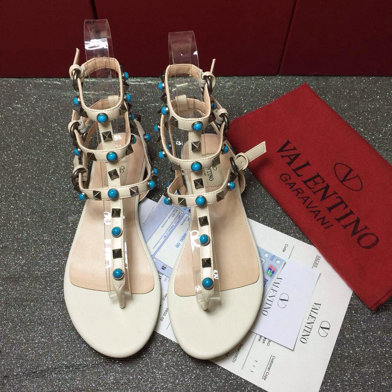replica aaa valentino sandals flats tri stud shoes